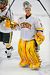 9 January 2009: University of Vermont Catamounts' goaltender Rob Madore, a Freshman from Venetia, PA, salutes the UVM fans after the first game of a weekend series against the Boston College Eagles at Gutterson Fieldhouse in Burlington, Vermont. The Catamounts scored with one second remaining in regulation time to earn a 3-3 tie with the visiting Eagles. Mandatory Photo Credit: Ed Wolfstein Photo