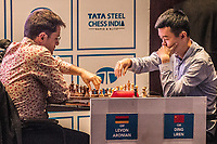 26th November 2019, Kolkata, India, Grand Master Tata Steeel Chess tournament;  Ding Liren R of China competes during the blitz round 17 against Levon Aronian of the United States at Tata Steel Chess India 2019 in Kolkata, India