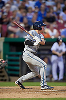 West Michigan Whitecaps center fielder Brock Deatherage (19) follows through on a swing during a game against the Kane County Cougars on July 19, 2018 at Northwestern Medicine Field in Geneva, Illinois.  Kane County defeated West Michigan 8-5.  (Mike Janes/Four Seam Images)