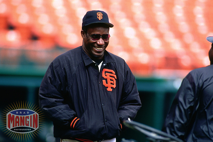 SAN FRANCISCO, CA - Hitting coach Bobby Bonds of the San Francisco Giants watches batting practice before a game at Candlestick Park in San Francisco, California in 1993. Photo by Brad Mangin