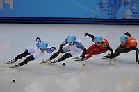 OLYMPICS: SOCHI: Iceberg Skating Palace, 15-02-2014, Short Track, Men's 1000m, Finals, Victor An (#250 | RUS), Vladimir Grigorev (#252 | RUS), Dajing Wu (#212 | CHN), Sjinkie Knegt (#248 | NED), ©photo Martin de Jong
