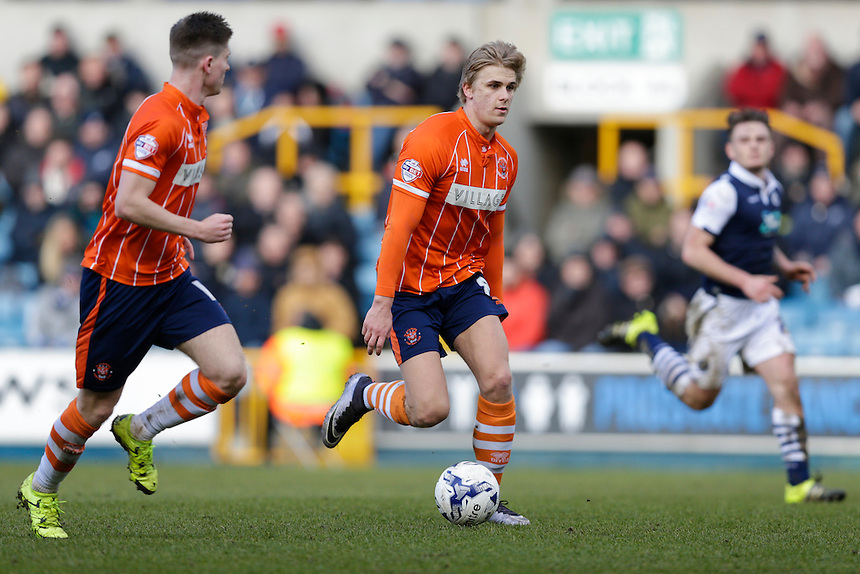 Blackpool's Brad Potts in action during todays match  <br /> <br /> Photographer Craig Mercer/CameraSport<br /> <br /> Football - The Football League Sky Bet League One - Millwall v Blackpool - Saturday 5th March 2016 - The Den - Millwall<br /> <br /> &copy; CameraSport - 43 Linden Ave. Countesthorpe. Leicester. England. LE8 5PG - Tel: +44 (0) 116 277 4147 - admin@camerasport.com - www.camerasport.com