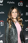 Actress Sarah Jessica Parker Wearing Giles Deacon dress, Saint Laurent jacket, Manolo Blahnik shoes, Fred Leighton jewels, and Freedom of Animals bag Attends The Premiere of the new AOL On Original Series city.ballet Held at Tribeca Cinemas, NY