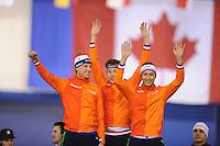 SPEEDSKATING: CALGARY: 14-11-2015, Olympic Oval, ISU World Cup, Podium Men Team Sprint, winners Ronald Mulder, Stefan Groothuis, Kai Verbij, Team NED, ©foto Martin de Jong