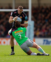 Exeter Chiefs' Jonny Hill is tackled by Harlequins' Rob Buchanan<br /> <br /> Photographer Bob Bradford/CameraSport<br /> <br /> Gallagher Premiership - Exeter Chiefs v Harlequins - Saturday 27th April 2019 - Sandy Park - Exeter<br /> <br /> World Copyright © 2019 CameraSport. All rights reserved. 43 Linden Ave. Countesthorpe. Leicester. England. LE8 5PG - Tel: +44 (0) 116 277 4147 - admin@camerasport.com - www.camerasport.com