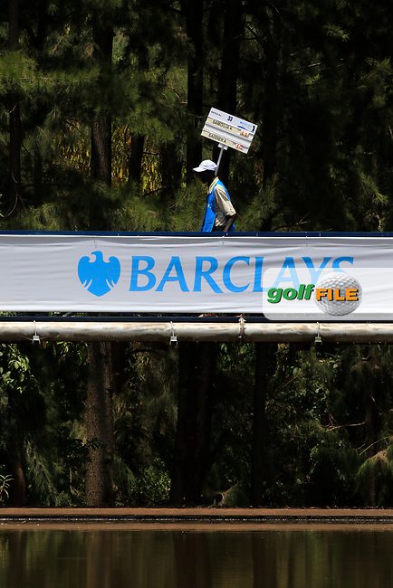 Scoreboard carrier during the third round of the of the Barclays Kenya Open played at Muthaiga Golf Club, Nairobi,  23-26 March 2017 (Picture Credit / Phil Inglis) 25/03/2017<br /> Picture: Golffile | Phil Inglis<br /> <br /> <br /> All photo usage must carry mandatory copyright credit (&copy; Golffile | Phil Inglis)