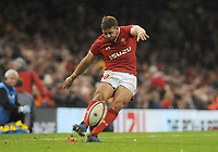 Wales Leigh Halfpenny kicks the conversion<br /> <br /> Photographer Ian Cook/CameraSport<br /> <br /> 2019 Autumn Internationals - Wales v Barbarians - Saturday 30th November 2019 - Principality Stadium - Cardifff<br /> <br /> World Copyright © 2019 CameraSport. All rights reserved. 43 Linden Ave. Countesthorpe. Leicester. England. LE8 5PG - Tel: +44 (0) 116 277 4147 - admin@camerasport.com - www.camerasport.com