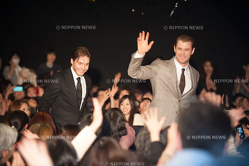 January 30, 2014 : Tokyo, Japan - Chris Hemsworth and Daniel Bruhl appear at the Japan Premiere for RUSH by Ron Howard in the Yurakucho Marion, Tokyo, Japan. (Photo by Yumeto Yamazaki/NipponNews)