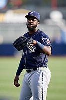 San Antonio Missions Franmil Reyes (7) warms up before a game against the Tulsa Drillers on June 1, 2017 at ONEOK Field in Tulsa, Oklahoma.  Tulsa defeated San Antonio 5-4 in eleven innings.  (Mike Janes/Four Seam Images)