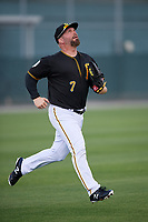 Pittsburgh Pirates Garth Brooks (7) tracks a fly ball during the teams first Spring Training practice on February 18, 2019 at Pirate City in Bradenton, Florida.  (Mike Janes/Four Seam Images)