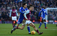 Jack Grealish of Aston Villa in action with Jota of Birmingham during the Sky Bet Championship match between Aston Villa and Birmingham City at Villa Park, Birmingham, England on 11 February 2018. Photo by Bradley Collyer/PRiME Media Images.