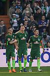 15.04.2018, Weser Stadion, Bremen, GER, 1.FBL, Werder Bremen vs RB Leibzig, im Bild<br /> <br /> Torjubel / Jubel <br />  1 zu 0 durch Niklas Moisander (Werder Bremen #18)<br /> <br /> Milot Rashica (Werder Bremen #11)<br /> Zlatko Junuzovic (Werder Bremen #16)<br /> <br /> Foto &copy; nordphoto / Kokenge