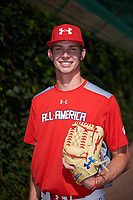 David Luethje (17) of Vero Beach High School in Vero Beach, Florida poses for a photo before the Under Armour All-American Game presented by Baseball Factory on July 29, 2017 at Wrigley Field in Chicago, Illinois.  (Mike Janes/Four Seam Images)