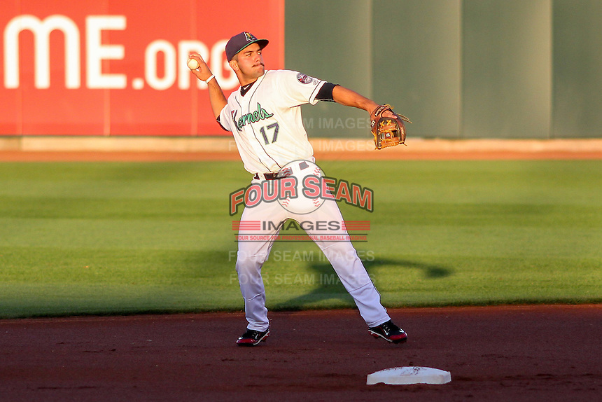 Cedar Rapids Kernels infielder Rafael P Valera (17) throws to first base during game five of the Midwest League Championship Series against the West Michigan Whitecaps on September 21st, 2015 at Perfect Game Field at Veterans Memorial Stadium in Cedar Rapids, Iowa.  West Michigan defeated Cedar Rapids 3-2 to win the Midwest League Championship. (Brad Krause/Four Seam Images)