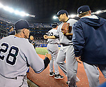 (L-R) Joe Girardi, Masahiro Tanaka (Yankees),<br /> APRIL 4, 2014 - MLB :<br /> Manager Joe Girardi and Masahiro Tanaka of the New York Yankees during the baseball game against the Toronto Blue Jays at Rogers Centre in Toronto, Ontario, Canada. Tanaka made his major league debut in the 7-3 Yankees win. (Photo by AFLO)