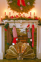 Christmas stockings hanging from fireplace. St Paul Minnesota USA