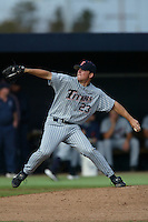 Scott Sarver of the Cal State Fullerton Titans pitches during a 2004 season game against the Loyola Marymount Lions at Loyola Marymount in Los Angeles, California. (Larry Goren/Four Seam Images)