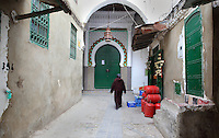 One of the entrances to the Jamaa el Kebir or Great Mosque, with a green door under a horseshoe arch surrounded by traditional zellige tilework, 19th century, on a narrow street in the medina or old town of Tetouan, on the slopes of Jbel Dersa in the Rif Mountains of Northern Morocco. Tetouan was of particular importance in the Islamic period from the 8th century, when it served as the main point of contact between Morocco and Andalusia. After the Reconquest, the town was rebuilt by Andalusian refugees who had been expelled by the Spanish. The medina of Tetouan dates to the 16th century and was declared a UNESCO World Heritage Site in 1997. Picture by Manuel Cohen