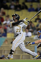 Pittsburgh Pirates outfielder Andrew McCutchen #22 bats against the Los Angeles Dodgers at Dodger Stadium on September 17, 2011 in Los Angeles,California. Los Angeles defeated Pittsburgh 6-1.(Larry Goren/Four Seam Images)