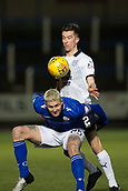 29th January 2019, Palmerston Park, Dumfries, Scotland; Scottish Cup football, 4th round replay, Queen of the South versus Dundee; Lyndon Dykes of Queen of the South challenges for the ball with Cammy Kerr of Dundee