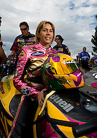 Oct. 31, 2008; Las Vegas, NV, USA: NHRA pro stock motorcycle rider Valerie Thompson during qualifying for the Las Vegas Nationals at The Strip in Las Vegas. Mandatory Credit: Mark J. Rebilas-