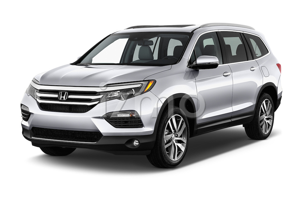 2018 Honda Pilot Touring 5 Door Suv Angular Front stock photos of front three quarter view