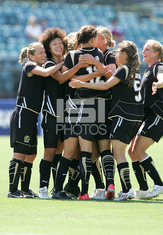 FC Gold Pride players celebrate. FC Gold Pride defeated Washington Freedom 3-2 at Buck Shaw Stadium in Santa Clara, California on August 1, 2009.