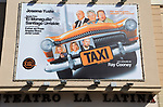 Taxi poster billboard advert, Teatro la Latina theatre playhouse, Madrid city centre, Spain