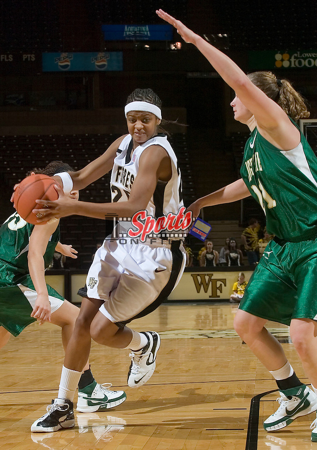 Brittany Waters (20) of the Wake Forest Demon Deacons drives the lane versus the Wright State Raiders during second half action at the LJVM Coliseum on December 5, 2007 in Winston-Salem, NC.