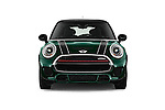 Car photography straight front view of a 2016 MINI MINI JCW 3 Door Hatchback Front View