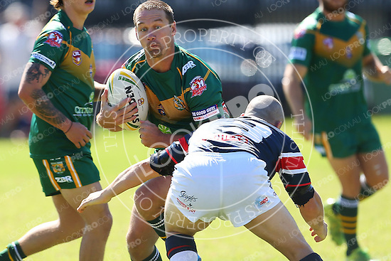 The Wyong Roos play Erina Eagles in Round 1 of the Open Age Central Coast Rugby League Division at Bill Hicks Field on 2 April, 2015 in Kanwal, NSW Australia. (Photo by Paul Barkley/LookPro)