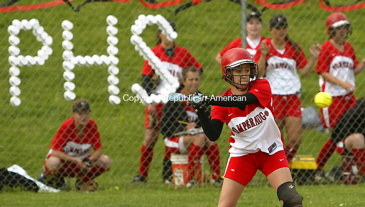 SOUTHBURY, CT 5/17/07- 051707BZ06- Pomperaug's  Rachel Zinni (10) watches a pitch against Lauralton Hall Thursday.<br /> Jamison C. Bazinet Republican-American