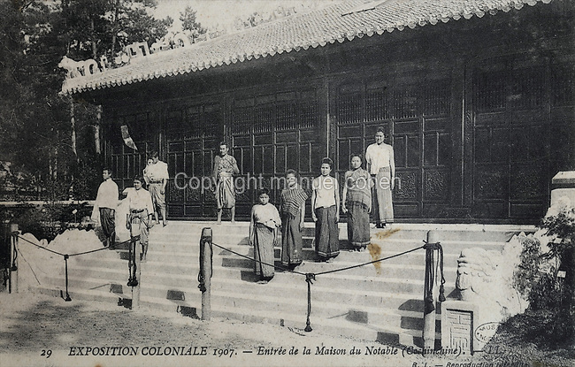 Maison du Notable, or Cochinchina Pavilion (Cochinchina, now in South Vietnam, was a French colony 1862-1954), at the Colonial Exhibition of 1907, held in the Jardin d'Agronomie Tropicale, or Garden of Tropical Agronomy, in the Bois de Vincennes in the 12th arrondissement of Paris, postcard from the nearby Musee de Nogent sur Marne, France. During the First World War, the building was used as a hospital for colonial troops. The garden was first established in 1899 to conduct agronomical experiments on plants of French colonies. In 1907 it was the site of the Colonial Exhibition and many pavilions were built or relocated here. The garden has since become neglected and many structures overgrown, damaged or destroyed, with most of the tropical vegetation disappeared. The site is listed as a historic monument. Picture by Manuel Cohen / Musee de Nogent sur Marne