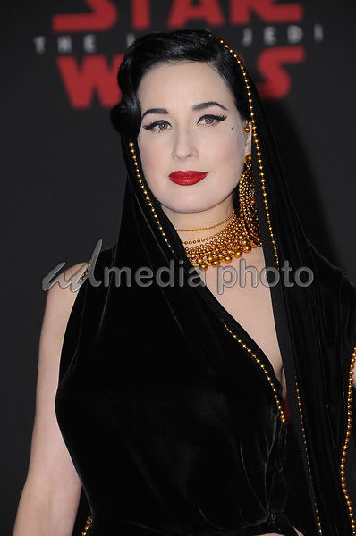 "09 December  2017 - Los Angeles, California - Dita von Teese. Premiere Of Disney Pictures And Lucasfilm's ""Star Wars: The Last Jedi"" held at The Shrine Auditorium  in Los Angeles Photo Credit: Birdie Thompson/AdMedia"