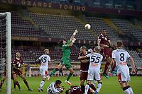 16th July 2020; Olympic Grande Torino Stadium, Turin, Piedmont, Italy; Serie A Football, Torino versus Genoa; Gleison Bremer of Torino FC wins the header after Mattia Perin of Genoa misses the cross