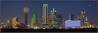 From the banks of the Trinity River in Oak Cliff, the Dallas skyline lights up in this panorama. Reunion Tower is a Dallas icon, as is the Omni Hotel. The moon full moon was rising in the east in this mid-December image, as well.