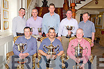Pictured at the Killarney Salmon and Trout angling club prize giving in the International  Hotel, Killarney on Saturday night were Liam Buckley, representing Alan Moriarty, best juvenile, Tom Dennehy, Angler of the year, Florence McCarthy, Star Seafoods, Sponsor, Micheal Doody, chairman, Anthony Griffin, representing Frank O'Connor, heaviest Trout and Brian Doolan, heaviest Salmon, Steve Campbell, best boat, Mike O'Connor, Waterville annual competition winner and Eoin Casey, sponsor of the Michael Casey memorial cup.