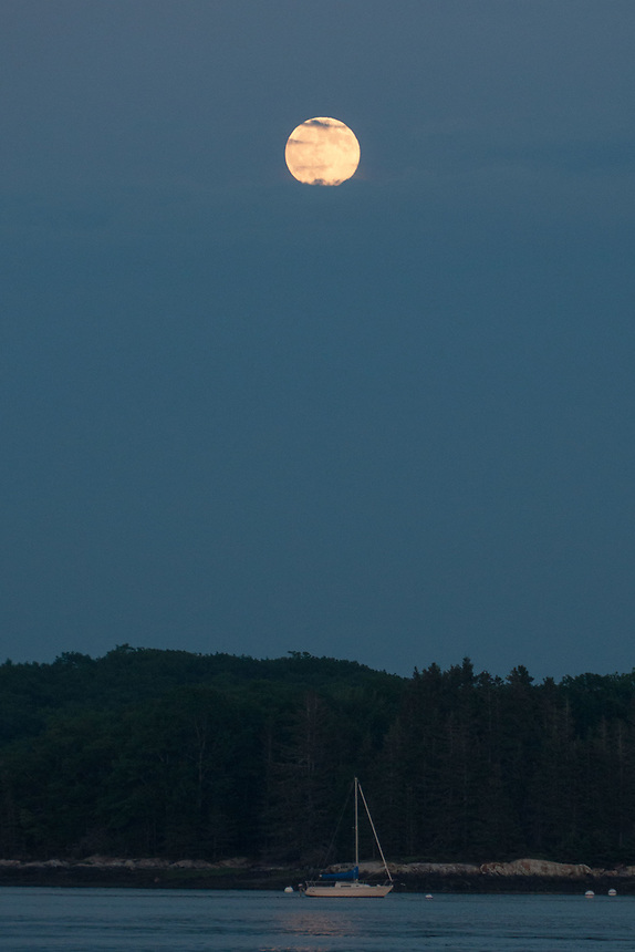 Moon Over Sailboat, Castine, Maine, US