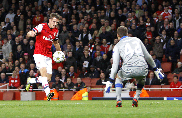 Arsenal's Aaron Ramsey scores his sides third goal 3-1..Football - UEFA Champions League Group B - Arsenal v Olympiakos FC - Wednesday 3rd October 2012 - Emirates Stadium - London..