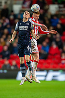 11th January 2020; Bet365 Stadium, Stoke, Staffordshire, England; English Championship Football, Stoke City versus Milwall FC; Sam Clucas of Stoke City heads the ball - Strictly Editorial Use Only. No use with unauthorized audio, video, data, fixture lists, club/league logos or 'live' services. Online in-match use limited to 120 images, no video emulation. No use in betting, games or single club/league/player publications