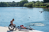 Caversham, Reading, . United Kingdom.   GBR ASW1X, Rachel MORRIS, watched by the drone,  Boating, GBRowing team, Media day for Paralympic  Team  to compete at the  2016 Rio Games.   Tuesday  19/07/2016,         [Mandatory Credit Peter Spurrier/Intersport Images]