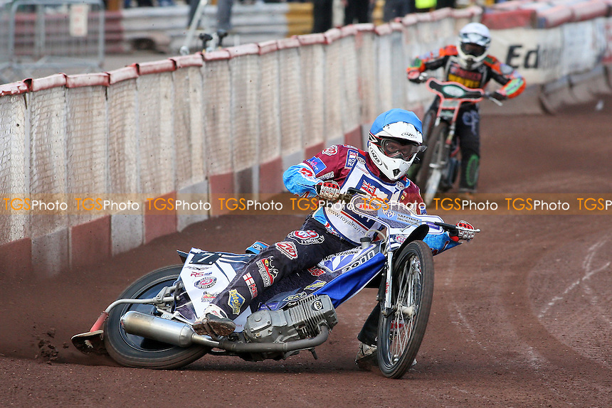 Heat 2: Stuart Robson (blue) and Joe Haines - Lakeside Hammers vs Wolverhampton Wolves - Elite League Speedway at Arena Essex Raceway - 16/05/11 - MANDATORY CREDIT: Gavin Ellis/TGSPHOTO - Self billing applies where appropriate - Tel: 0845 094 6026