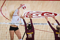 STANFORD, CA - August 28, 2016: Kathryn Plummer at Maples Pavilion. The Stanford Cardinal defeated the University of Minnesota 3-1.