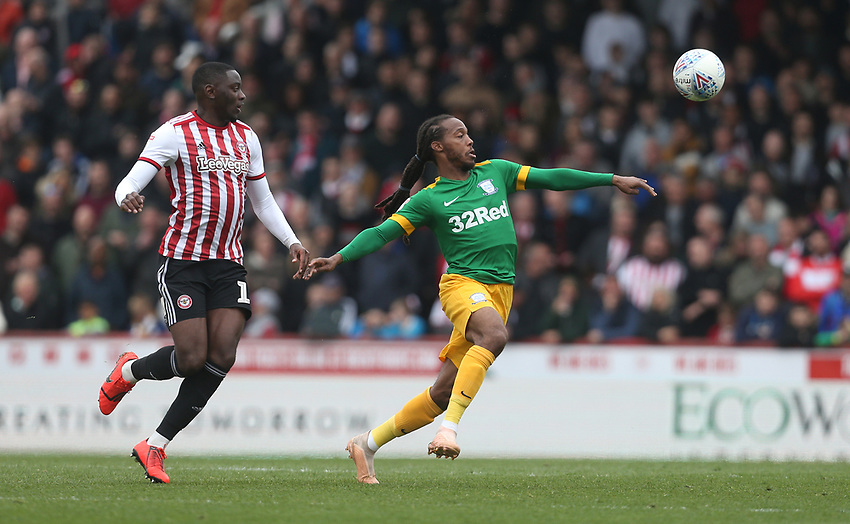 Preston North End's Daniel Johnson and Brentford's Josh Dasilva<br /> <br /> Photographer Rob Newell/CameraSport<br /> <br /> The EFL Sky Bet Championship - Brentford v Preston North End - Sunday 5th May 2019 - Griffin Park - Brentford<br /> <br /> World Copyright © 2019 CameraSport. All rights reserved. 43 Linden Ave. Countesthorpe. Leicester. England. LE8 5PG - Tel: +44 (0) 116 277 4147 - admin@camerasport.com - www.camerasport.com