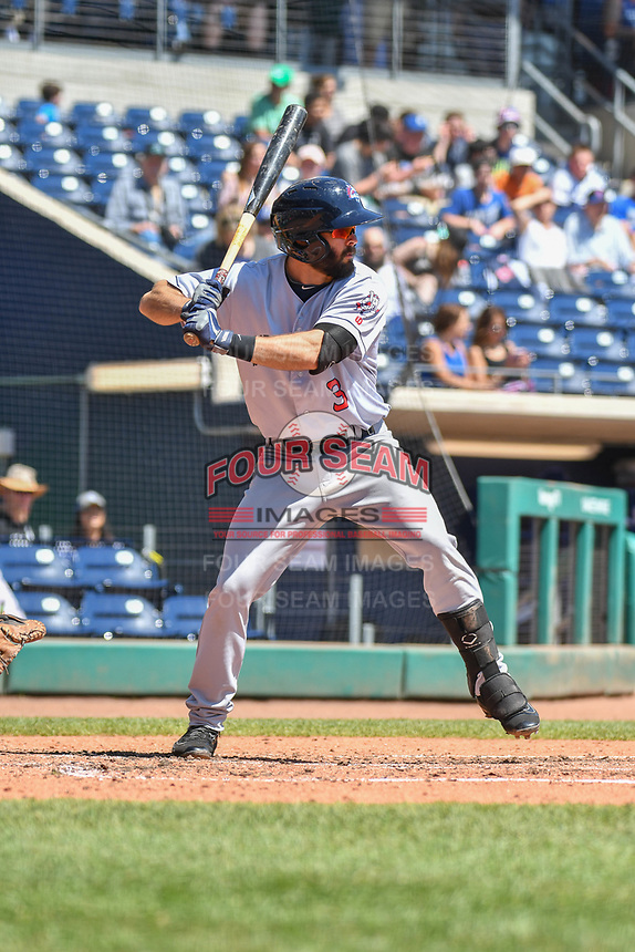 Levi Michael (3) of the Binghamton Rumble Ponies bats during a game against the Hartford Yard Goats at Dunkin Donuts Park on May 9, 2018 in Hartford, Connecticut.<br /> (Gregory Vasil/Four Seam Images)