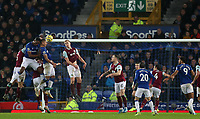 26th December 2019; Goodison Park, Liverpool, Merseyside, England; English Premier League Football, Everton versus Burnley; Yerry Mina of Everton collides with Richarlison of Everton  as he attempts a header at goal - Strictly Editorial Use Only. No use with unauthorized audio, video, data, fixture lists, club/league logos or 'live' services. Online in-match use limited to 120 images, no video emulation. No use in betting, games or single club/league/player publications