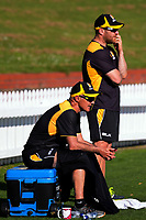 Wellington coaches Bruce Edgar and Glenn Pocknall on day two of the Plunket Shield cricket match between the Wellington Firebirds and Otago Volts at the Hawkins Basin Reserve in Wellington, New Zealand on Tuesday, 31 October 2017. Photo: Dave Lintott / lintottphoto.co.nz