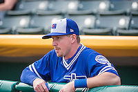 Elliot Johnson (5) of the Oklahoma City Dodgers before the game against the Salt Lake Bees in Pacific Coast League action at Smith's Ballpark on May 25, 2015 in Salt Lake City, Utah.  (Stephen Smith/Four Seam Images)