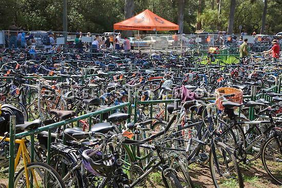 A free, secure bike parking area at the Hardly Strictly Bluegrass Festival provded by The San Francisco Bicycle Coalition Golden Gate Park. San Francisco, California, USA
