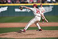 Arkansas' Jacob Burton pitches against Grand Canyon University Wednesday March 11, 2020 at Baum-Walker Stadium in Fayetteville. The Hogs won 10-9. Visit nwaonline.com/200312Daily/ for more images. (NWA Democrat-Gazette/J.T. Wampler)
